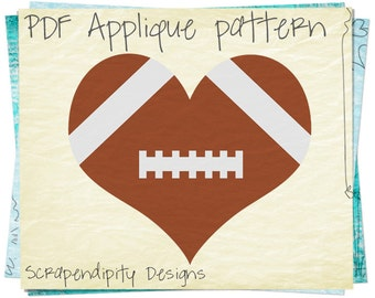 Football Heart Applique Template - Sports Applique Pattern / Toddler Sports Quilt Pattern / Applique Quilt Pattern / Kids Football AP251-D
