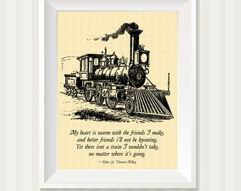 Vintage Train Illustration With Poem Wall Art Print