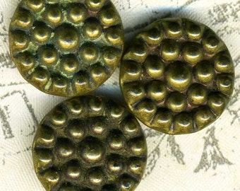 3 Vintage Brass Berry Buttons 5/8 inch 16mm Gold Metal Sewing Buttons