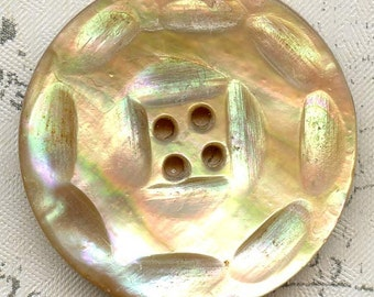 Vintage Carved Scallop Rainbow Abalone Shell Coat Button 1-1/8 inch 29mm Mother of Pearl MOP Sewing Button