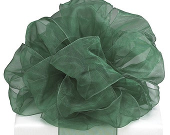 """Extra Wide 5yds x 4"""" Sheer Dark Green Wired Edge Ribbon (FREE SHIPPING!)"""