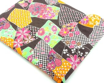 SALE iPad Sleeve/iPad Case/iPad Cover/Padded Tablet case Flap Closure Kimono pattern fabric chrysanthemum brown
