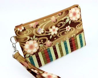 Floral Wristlet, Handmade Wristlet, Mini Clutch, Wallet With Strap Cherry Blossoms Brown