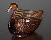 Vintage Amber Glass Swan Bowl