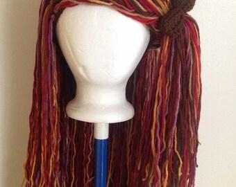 Handmade Crochet Colorful yarn Hat Hair wig,women, baby, kids,multi color hair, wig, yarn hair, yarn wig, hat wig Halloween wig costume