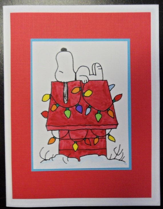 Snoopy peanuts christmas card by katkreated on etsy
