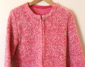 Vintage Bright Pink Mohair Cardigan M/L