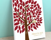 Wedding Tree Guest Book Canvas - Wishwik Tree - Peachwik Interactive Art Canvas - 75 guest sign in - Fall Wedding Gallery Wrapped Canvas