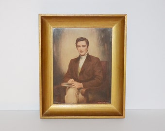 Vintage Picture Colonial Man Framed Print by C. Bosseron Chambers Framed Portrait Gold Gilt Frame Wall Hanging