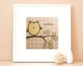 Modern Children's Paper Wall Art - Personalized Woodland Owl on a Branch - 12 x 12 - Grey and Yellow or Custom Color