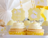 Easter Lamb and Bunny Fleece and Fur Birthday Party Suit PRINTABLE Cupcake Toppers