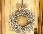 EXTRA FULL-LARGE Antique White Door Wreath-Large Wreath-Fal Wreath-Winter Wreath-Inspired Vintage Shabby Chic Wedding Wreath-Scented Wreath