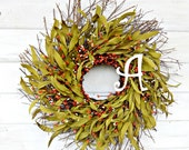 ORANGE MONOGRAM TWIG  Door Wreath-Monogram Door Wreath-Personalized Wreath-Monogram Wreath-Wedding Gift-Custom-Choose your Scent and Initial