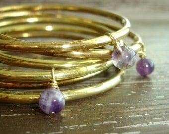 Bohemian Bangles: Stackable Bracelet Set, Gypsy Jewelry, Amethyst Bracelets, Indian Boho Gold Bangles, Gypsy Bracelet Set, India Jewellery