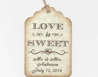 100 Love is Sweet  Personalized Handmade Tags-Wedding Wish Tags-Honey jar Jelly/Jam tags-Favor tags