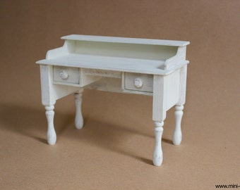1/6 scale Desk / Bureau/ Table Shabby Cottage chic White Wood miniature furniture for Fashion dolls Blythe, Barbie, Pullip, BJD, Momoko