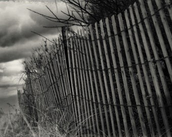 Landscape Photography // Vintage Fence Fine Art Photograph by Heather Reid // Rustic Pinhole Cottage Chic Seaside Beach