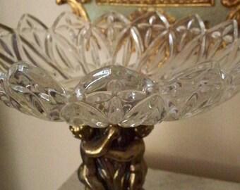 HOLLYWOOD REGENCY CHERUB Pedestal Large Crystal Bowl Diamond Pattern Mid Century Decor