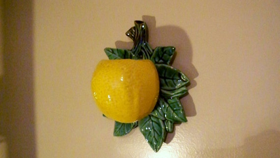Vintage Kitchen Lemon Citrus Wall Pocket Mccoy Pottery Wall
