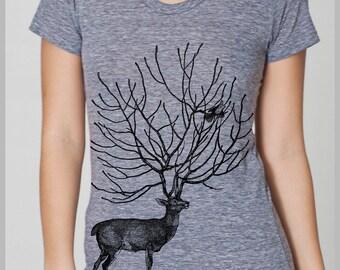 Women's Deer T Shirt American Apparel Tshirt Birds Nature Spirit Animal Shirt Womens Clothing S, M, L, XL 8 COLORS Full Spectrum Apparel