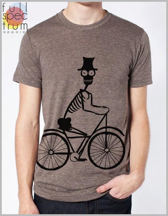 Skeleton Shirt Bicycle Print Men's Unisex T Shirt American Apparel XS, S, M, L, XL 8 Colors