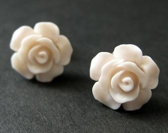 Pale Pink Flower Earrings. Pink Earrings. Gardenia Flower Earrings. Bronze Stud Earrings. Rose Earrings. Handmade Earrings. Handmade Jewelry