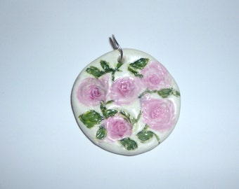 Marked Down-Sculpy Clay Pendant with Flowers