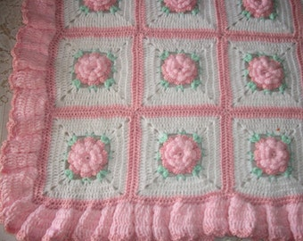 Popular items for flowers afghan on Etsy