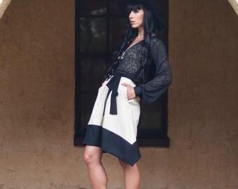 Beige Black Skirt