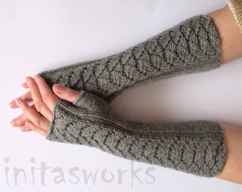 "Fingerless Gloves Long Dark Gray 14"" Mittens Arm Warmers, Acrylic Wool"