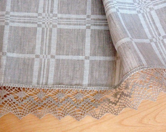 "Linen Tablecloth Checked Natural White Gray Linen Lace 100"" x 59"""