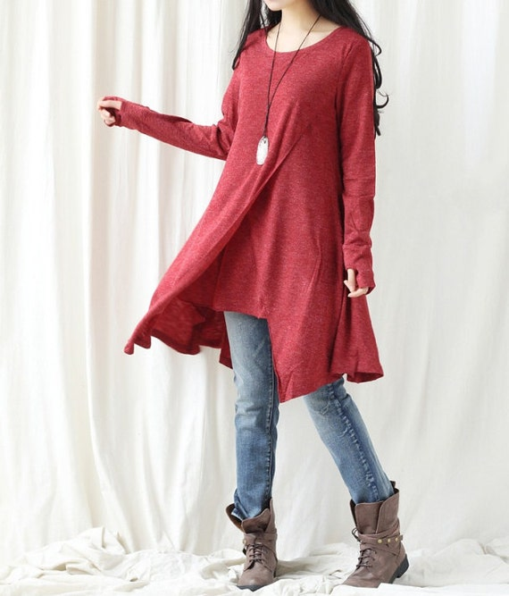 Cotton asymmetrical dress/ Long t shirt/ Long bottoming gown