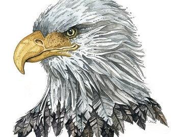 "Bald Eagle | Watercolor | Archival Print 8"" x 8"""