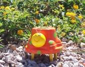 Toyota Hubcap Art Bug - Garden Art - Orange, Yellow and Green - Hub Bugz
