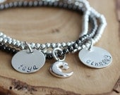 Personalized Silver Name Bracelet Stacking Set- Black & White Hand Stamped - To The Moon  Back Bracelet Set