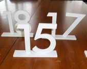 """6"""" Futura Table Numbers set 1-10 with 1/4"""" Rectangle Base PVC White"""