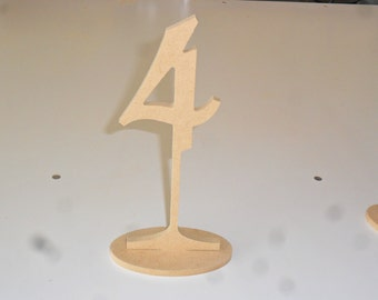 """Table Numbers 8"""" Tall 4"""" numbers with base Set 1-10 MDF"""