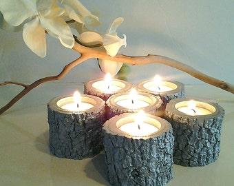 TREASURY ITEM -  6 Wedding candles - Tree branch candles - Silver candles - Metallic candles - Rustic wedding candles - Holiday candles