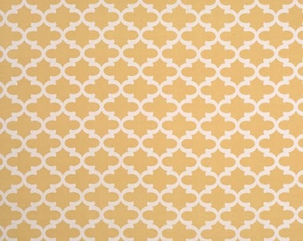 Saffron Yellow White Curtains Lattice Fynn  Rod Pocket  63 72 84 90 96 108 or 120 Long x 24 or 50 Wide