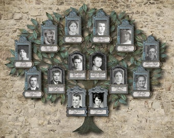Personalized Family Tree Art  - Family Portrait - 14 Photos in Olive Green and Tan