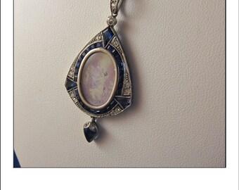 Antique Art Deco Platinum Reverse painted Diamond Sapphire Pendant - Fabulous
