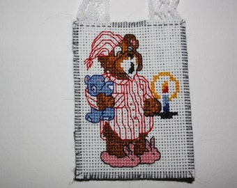 Cross stitch sleepy bear Christmas ornament