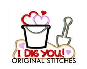 I Dig You! Applique and Machine Embroidery Digital Design File 4x4 5x7 6x10