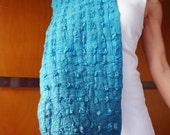 Aquamarine blue scarf, nuno felt,  textured scarf,  silk scarf, ombre dyed, natural designer clothing, funky women's clothing, eco fashion