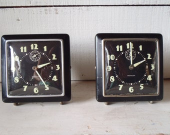 Vintage Art Deco Glow In the Dark 1940s Westclox Alarm Clock