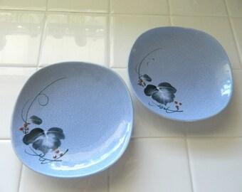 Blue Glazed Vintage Asian Serving Dishes set of 2