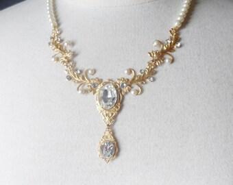 BRIDAL necklace Wedding necklace wedding jewelry bridal jewelry Pearl Necklace STATEMENT NECKLACE gold necklace bridal accessories wedding