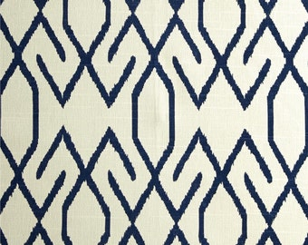 "Two  96"" x50""  Custom Curtain Panels - Lacefield Zoe Geometric Trellis Navy - Special"
