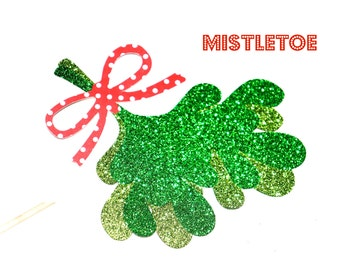 Sparkle Mistletoe on a stick - Holiday Photo Booth Props - Christmas Props - Mistletoe Prop