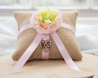Pink and green flower natural burlap personalized ring bearer pillow  shabby chic with engraved initials... many more colors available